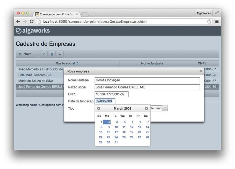 Screenshot do projeto do workshop
